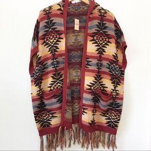 American Eagle Aztec Hooded Fringe  Poncho NWT M